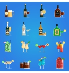 Cocktail icons flat set vector