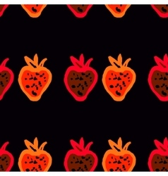 Seamless pattern of colored strawberries painted vector