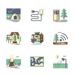 Summer rest flat color icons vector
