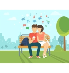Couple with smartphone outdoors vector