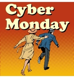 Cyber monday shoppers run on sale vector