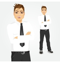 Young businessman with arms folded vector