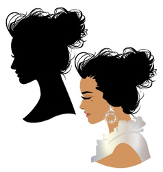 Beautiful girl head silhouette vector image