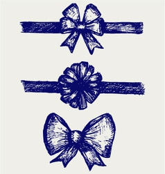 Set gift bows with ribbons vector
