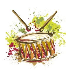 Drum with splashes in watercolor style vector