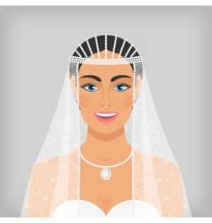 Beautiful smiling bride in veil vector
