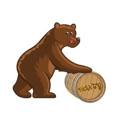 Bear and barrel vector image vector image