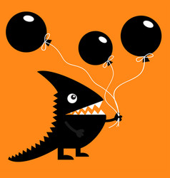 black silhouette monster with sharp tail horn vector image vector image