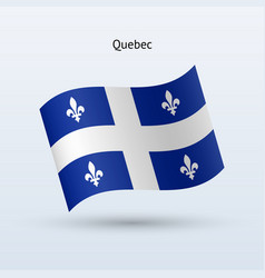 canadian province of quebec flag waving form vector image