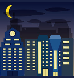 cityscape with buildig in the night vector image vector image