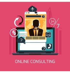 Customer online consulting service concept vector image
