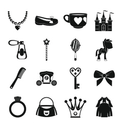 Doll princess items icons set simple style vector