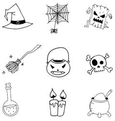 Doodle of Set Halloween vector image vector image