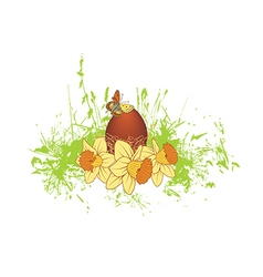 egg and narcissuses vector image