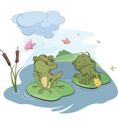 Frogs on a bog vector image