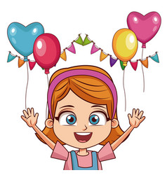 Girl on birthday with ballons and pennants vector