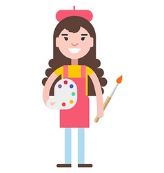 Girl painter with a palette vector