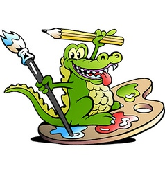 Hand-drawn of an Happy Creative Artist Crocodile vector image vector image