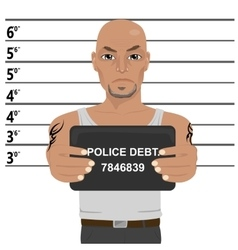 Latino gangster with tattoos holding mugshot vector