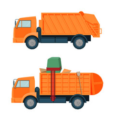 long orange dumpster truck with empty and full vector image vector image