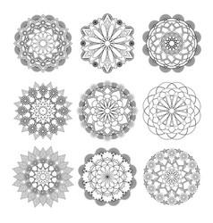 Mandala round ornament set vector