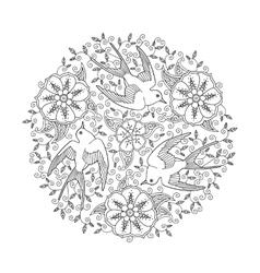 Mandala with three beautiful flying birds and vector