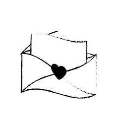 Message letter love romace sketch vector