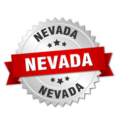 Nevada round silver badge with red ribbon vector