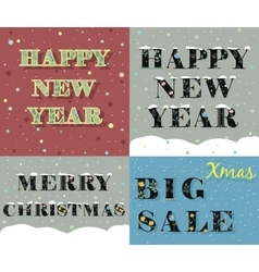 New Year and Christmas greeting cards vector image