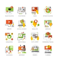 Online education flat color pictograms set vector