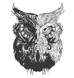 Owl shadowesd black vector
