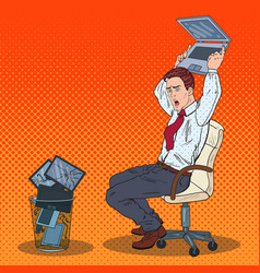 pop art angry businessman throws out laptop vector image vector image
