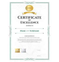 Portrait certificate of excellence template with vector