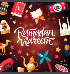 ramadan kareem - postcard template with islamic vector image vector image