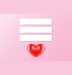 red heart paper label vector image