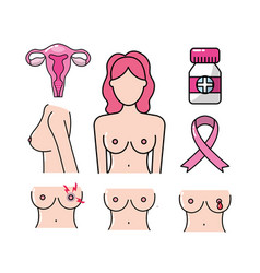 Set breast cancer sickness and medicine treatment vector