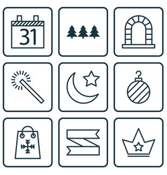 Set of 9 new year icons includes arch date vector