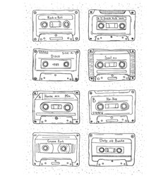 Set of plastic cassette audio tape with different vector