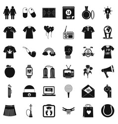 Shirt polo icons set simple style vector
