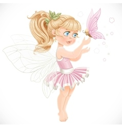 Sweet fairy in a pink tutu holding a large vector image