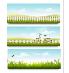 Three nature summer meadow landscape banners with vector