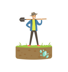 Treasure seeker standing with shovel in his hand vector
