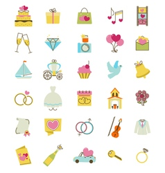Wedding icons vector image vector image