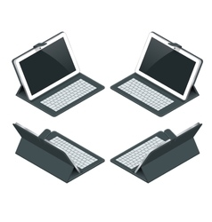 Isometric Tablet computer with white blank screen vector image