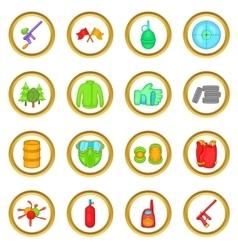 Paintball set cartoon style vector image