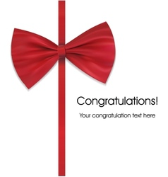 Red bow on ribbon with sample text vector