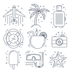 Vacation thin line icons summer set vector