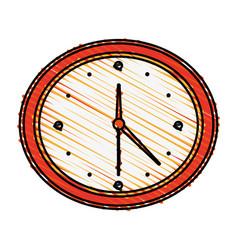 Color crayon stripe cartoon analog wall clock vector
