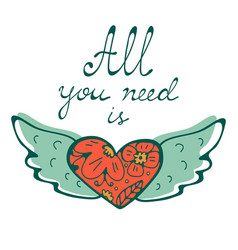 All you need is love concept card with flying vector
