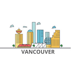 Vancouver city skyline buildings streets vector